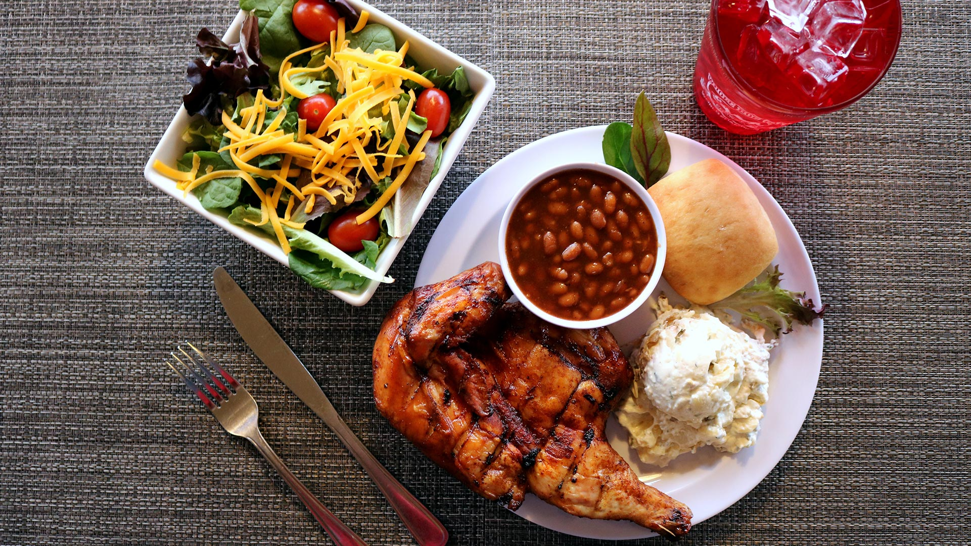 Whole Hog Cafe BBQ chicken plate and salad